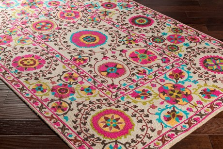 Surya Bukhara Rectangular Ivory, Bright Pink & Black Area Rug