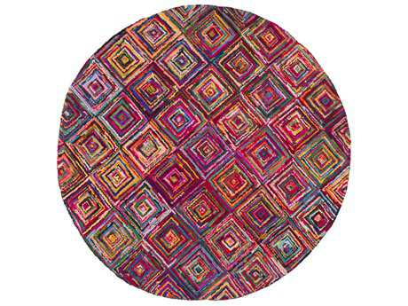 Surya Boho 8' Round Bright Purple, Sky Blue & Bright Yellow Area Rug