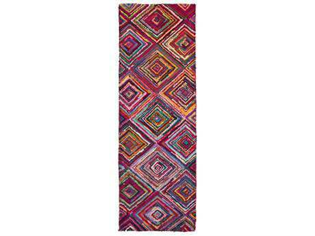 Surya Boho 2'6'' x 8' Rectangular Bright Purple, Sky Blue & Bright Yellow Runner Rug