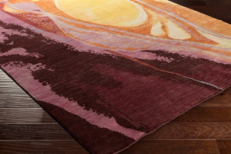 Surya Brought to Light Rectangular Gold & Burgundy Area Rug