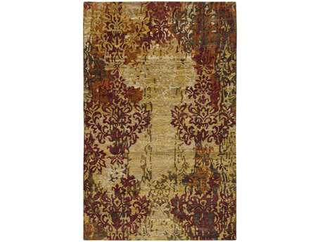 Surya Brocade Rectangular Beige Area Rug