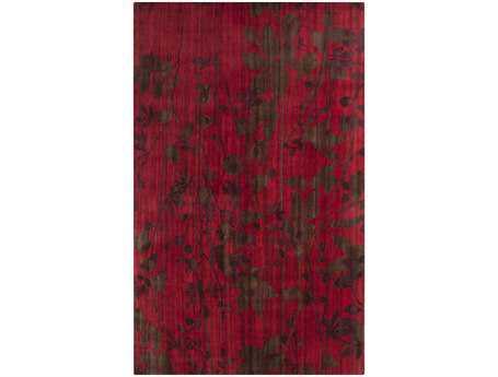 Surya Brocade Rectangular Red Area Rug