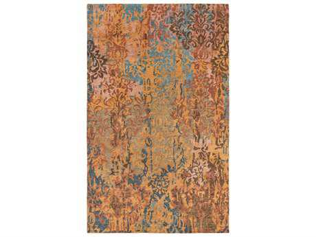 Surya Brocade Rectangular Rust Area Rug