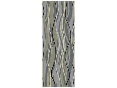 Surya Brilliance 2'6'' x 8' Rectangular Moss Black & Light Gray Runner Rug