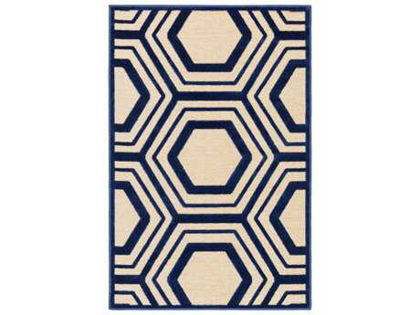 Surya Basilica Rectangular Dark Blue & Butter Area Rug