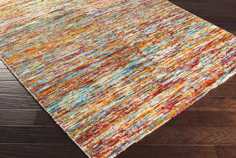 Surya Bazaar Rectangular Dark Red, Bright Orange & Sky Blue Area Rug