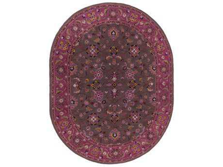 Surya Caesar Oval Dark Purple, Dark Brown & Camel Area Rug