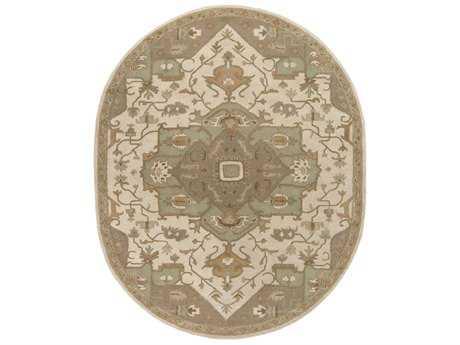Surya Caesar Oval Khaki, Medium Gray & Light Gray Area Rug