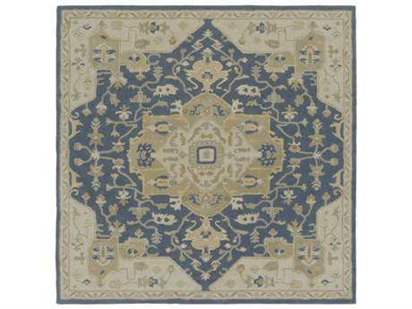 Surya Caesar Square Navy, Ivory & Medium Gray Area Rug
