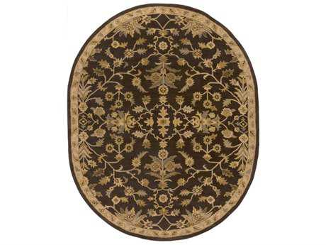 Surya Caesar Oval Dark Brown, Camel & Tan Area Rug