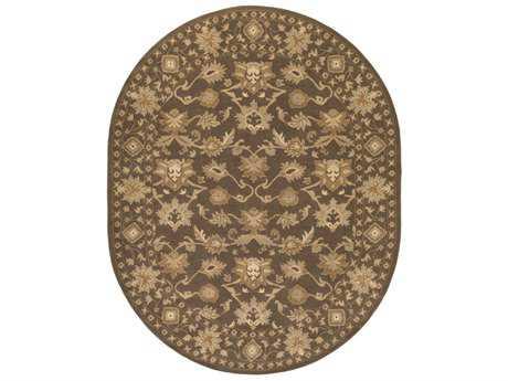Surya Caesar Oval Dark Brown, Tan & Ivory Area Rug