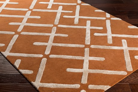Surya Chamber Rectangular Burnt Orange, Khaki & Cream Area Rug