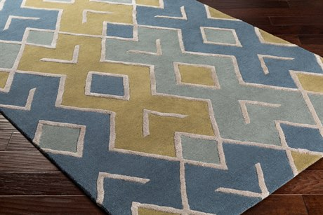 Surya Chamber Rectangular Olive, Denim & Sage Area Rug