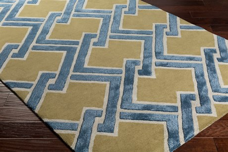 Surya Chamber Rectangular Olive, Light Gray & Teal Area Rug