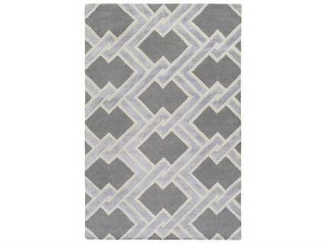 Surya Chamber Rectangular Medium Gray, Light Gray & White Area Rug