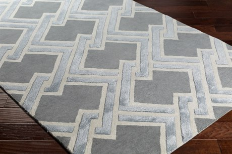 Surya Chamber Rectangular Medium Gray, Light Gray & White Area Rug