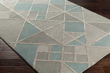 Surya Chamber Rectangular Light Gray, Medium Gray & Teal Area Rug