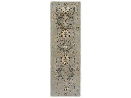 Surya Castello 2'6'' x 8' Rectangular Medium Gray, Khaki & Teal Runner Rug