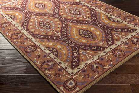 Surya Castello Rectangular Burgundy, Burnt Orange & Camel Area Rug
