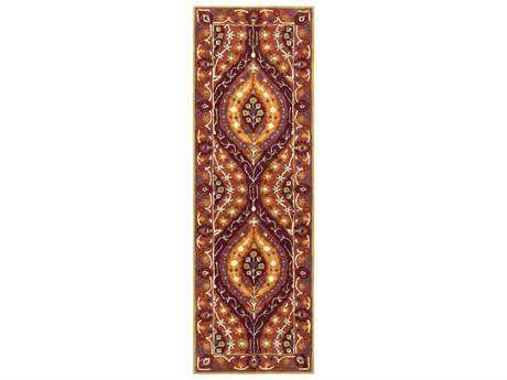 Surya Castello 2'6'' x 8' Rectangular Burgundy, Burnt Orange & Camel Runner Rug