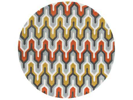 Surya Cosmopolitan 8' Round Sea Foam, Bright Orange & Sage Area Rug
