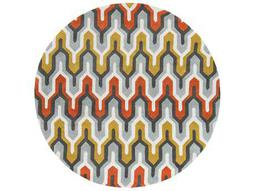 Surya Cosmopolitan 8' Round Sea Foam, Bright Orange & Sage Area Rug