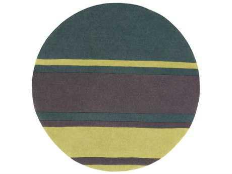 Surya Cosmopolitan Round Dark Green, Grass Green & Charcoal Area Rug