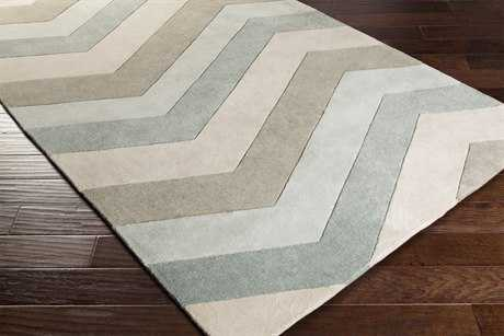 Surya Cosmopolitan Rectangular Ice Blue, Medium Gray & Khaki Area Rug