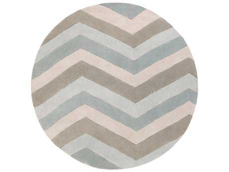 Surya Cosmopolitan 8' Round Ice Blue, Medium Gray & Khaki Area Rug