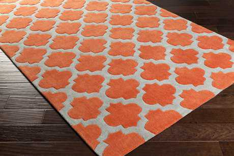 Surya Cosmopolitan Rectangular Bright Orange & Medium Gray Area Rug
