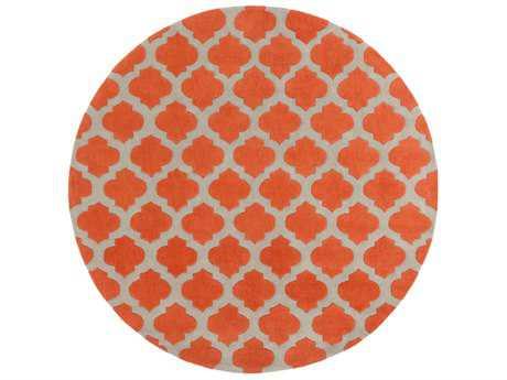 Surya Cosmopolitan 8' Round Bright Orange & Medium Gray Area Rug