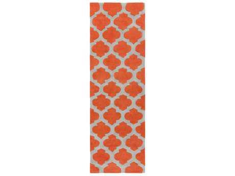 Surya Cosmopolitan 2'6'' x 8' Rectangular Bright Orange & Medium Gray Runner Rug