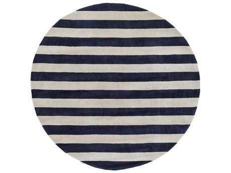 Surya Cosmopolitan 8' Round Dark Blue & Ivory Area Rug