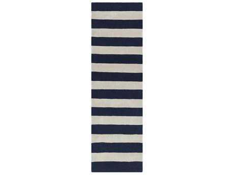 Surya Cosmopolitan 2'6'' x 8' Rectangular Dark Blue & Ivory Runner Rug