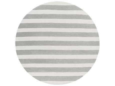 Surya Cosmopolitan 8' Round Medium Gray & White Area Rug