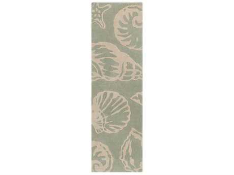 Surya Cosmopolitan 2'6'' x 8' Rectangular Sea Foam, Beige & Navy Runner Rug