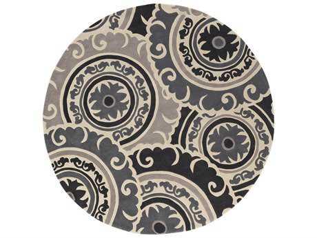 Surya Cosmopolitan 8' Round Taupe & Light Gray Area Rug