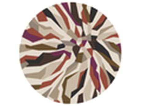 Surya Cosmopolitan 8' Round Beige & Magenta Area Rug