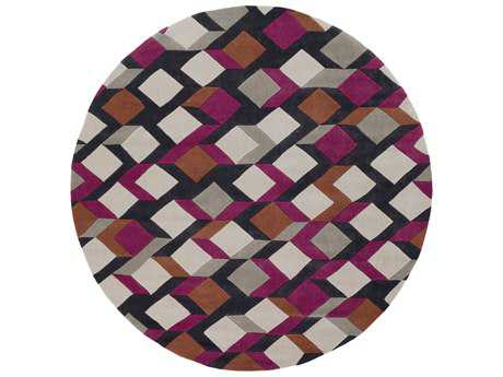 Surya Cosmopolitan 8' Round Fuchsia, Burnt Orange & Black Area Rug