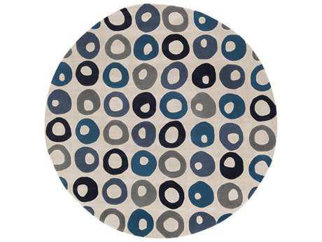 Surya Cosmopolitan 8' Round Black, Dark Blue & Navy Area Rug
