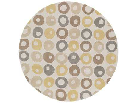 Surya Cosmopolitan 8' Round Ivory, Wheat & Medium Gray Area Rug