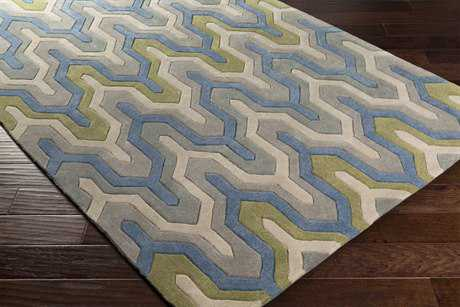 Surya Cosmopolitan Rectangular Bright Blue, Medium Gray & Dark Green Area Rug
