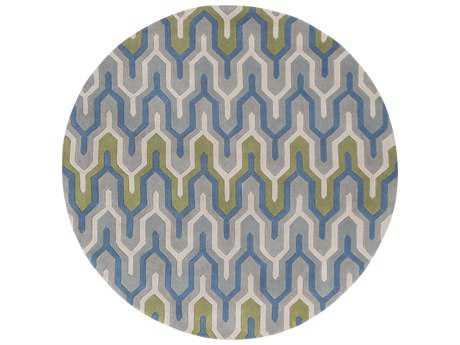 Surya Cosmopolitan 8' Round Bright Blue, Medium Gray & Dark Green Area Rug