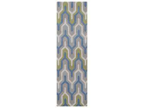 Surya Cosmopolitan 2'6'' x 8' Rectangular Bright Blue, Medium Gray & Dark Green Runner Rug