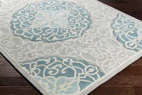 Surya Cosmopolitan Rectangular Teal, Aqua & Light Gray Area Rug