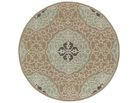 Surya Cosmopolitan 8' Round Sage, Dark Green & Camel Area Rug