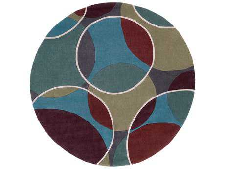 Surya Cosmopolitan 8' Round Teal, Dark Green & Bright Blue Area Rug