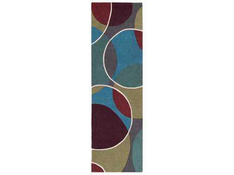 Surya Cosmopolitan 2'6'' x 8' Rectangular Teal, Dark Green & Bright Blue Runner Rug