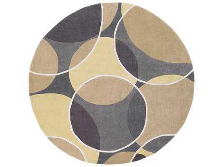 Surya Cosmopolitan 8' Round Wheat, Tan & Black Area Rug