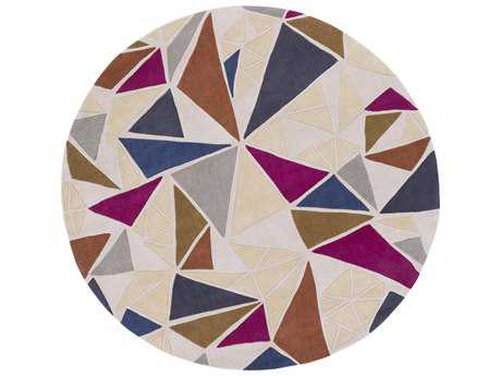 Surya Cosmopolitan 8' Round Khaki, Medium Gray & Burnt Orange Area Rug